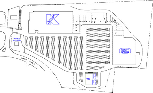 Site Plan drawing for West View Park Shopping Center