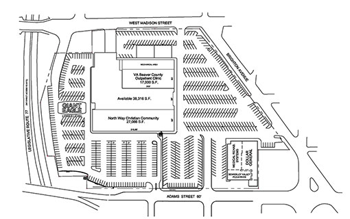 Site Plan drawing for Braddock Hills Shopping Center